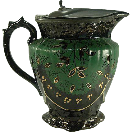 19th Century English Jackfield Pitcher with Lid