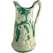 Outstanding Antique Paul & Virginia Pitcher, c.1850
