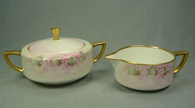 Bernardaud Limoges Pink & White Creamer & Sugar Bowl