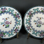 Pair Charles Meigh Gothic Polychrome Dinner Plates, c 1850 - Red Tag Sale Item