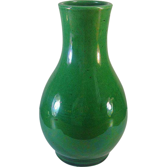 Awaji Pottery Vase Monochrome Green Glaze From Antiquesonascot On Ruby Lane