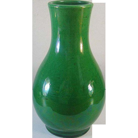 Awaji Pottery Vase Monochrome Green Glaze