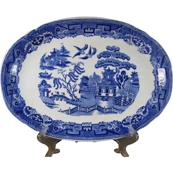 Antique Bourne & Leigh Staffordshire Blue Willow Oval Platter