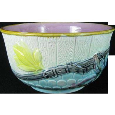 B & D Woodbound Majolica Bowl c1860