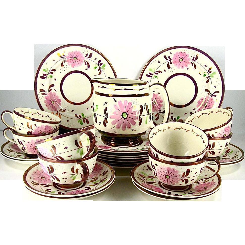 Old Castle Pink Copper Luster 25 Piece Dessert Set