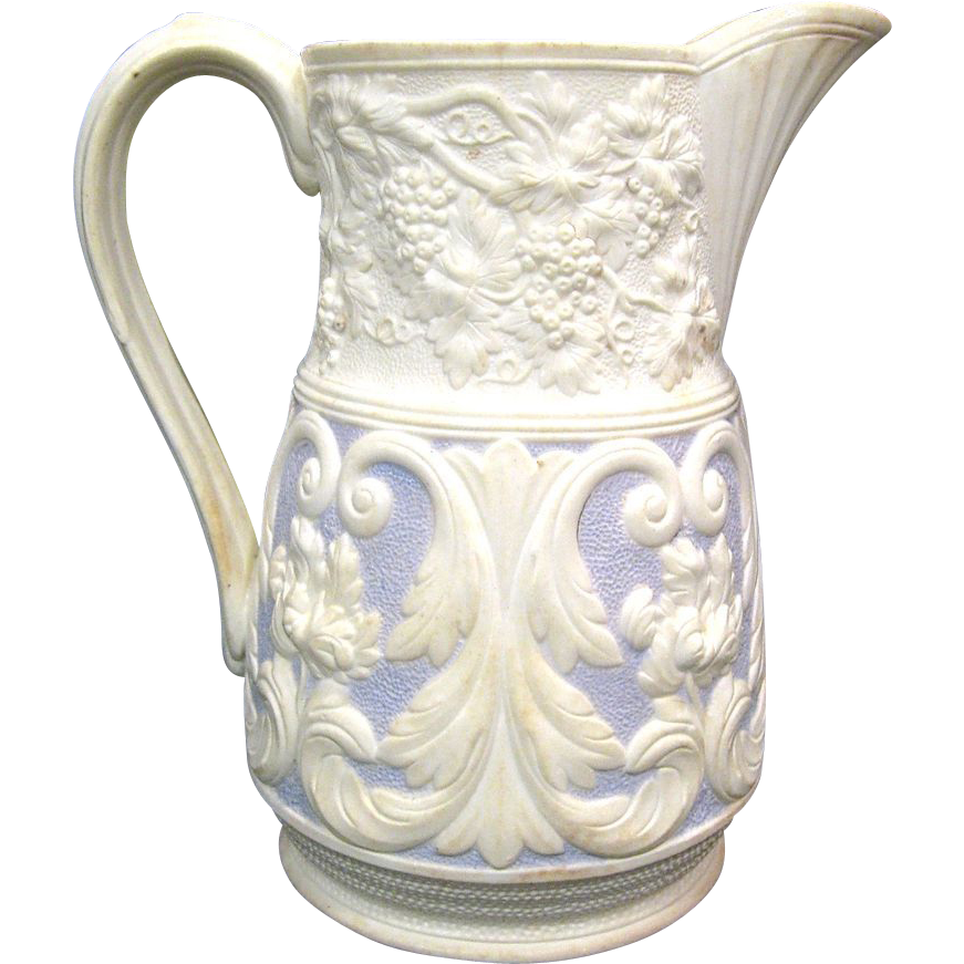 Mid 1800s Lavender Relief Moulded Staffordshire Jug