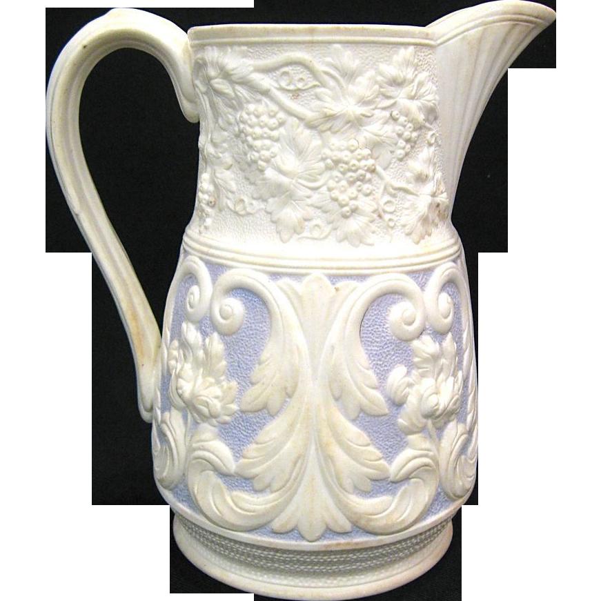 Mid 1800s Lavender Relief Moulded Staffordshire Jug