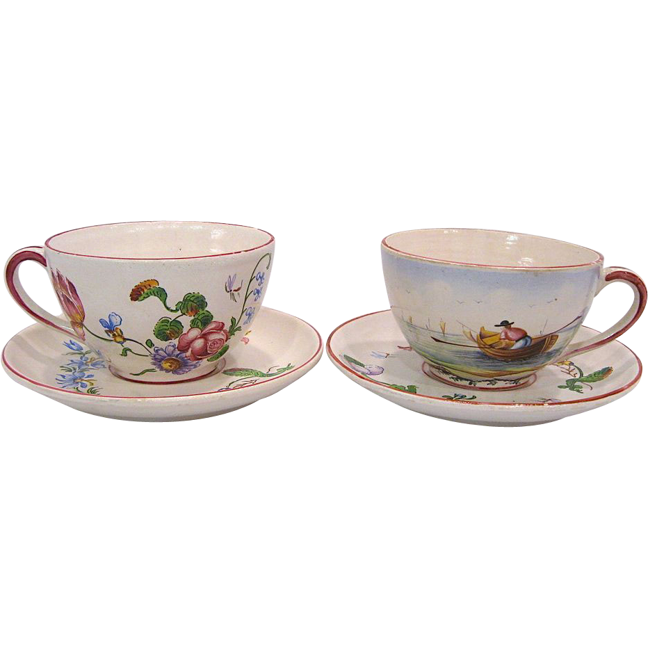 Two French Faience Cups and Saucers, VP France Mark