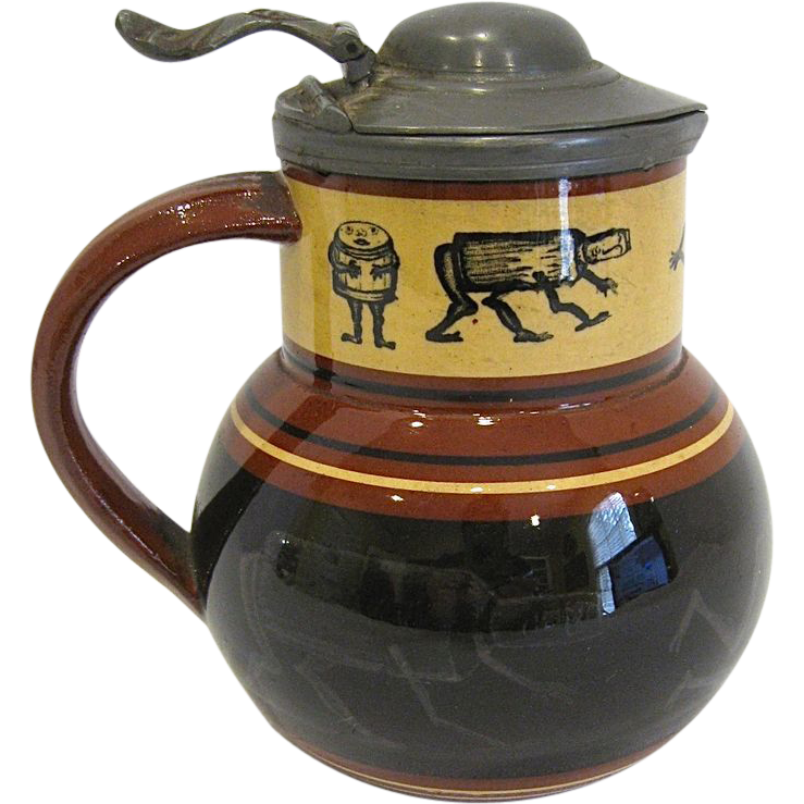 Antique Brownfield Pottery Syrup Pitcher