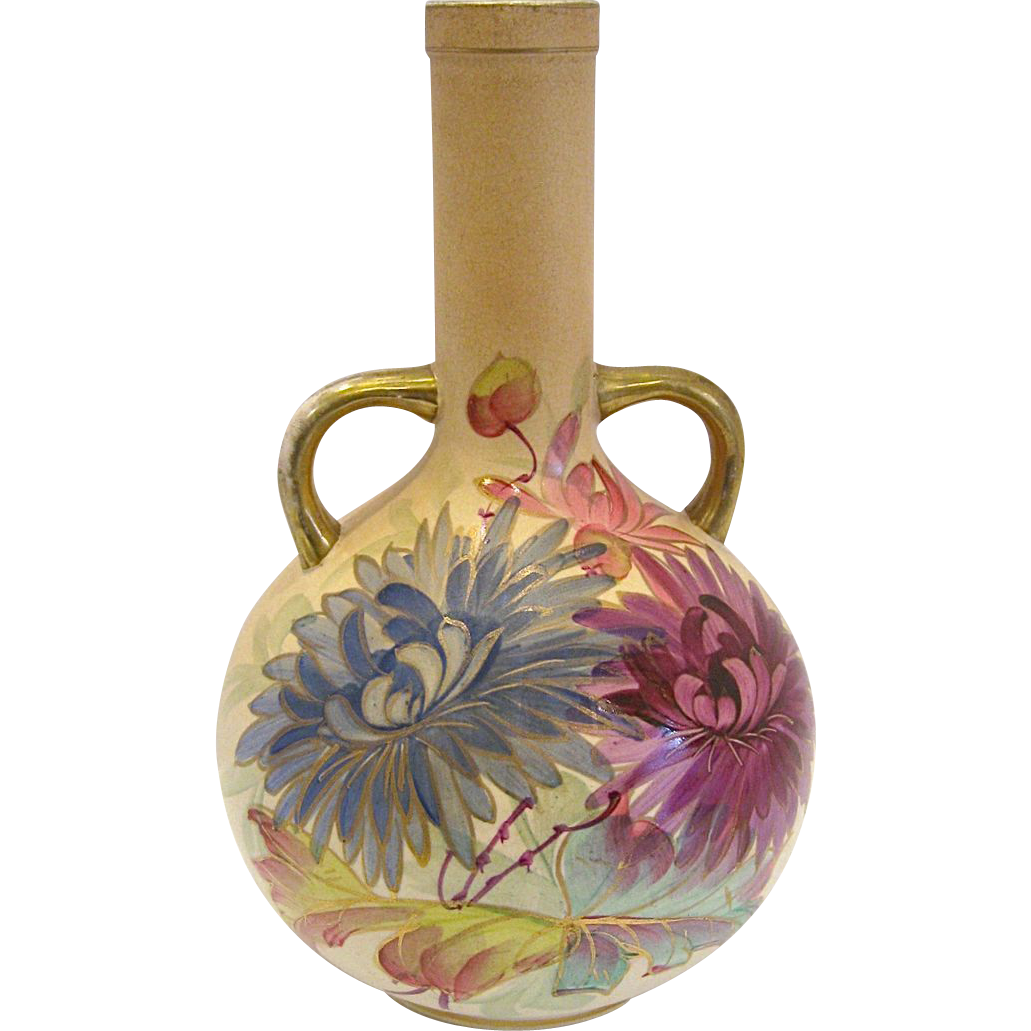 Antique Royal Denton Burslem Chrysanthemum Vase