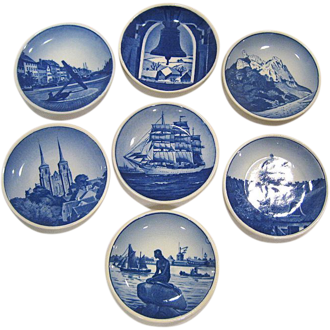 Set of 7 Royal Copenhagen Miniature Collector Plates