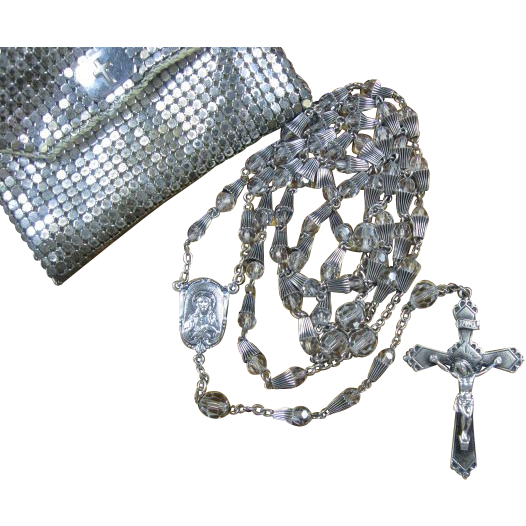 Beautiful Sterling & Crystal Rosary with Whiting & Davis Mesh Pouch