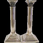 Pair Tall Silver Corinthian Column Candlesticks