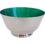 Reed & Barton Silver Plate & Green Enamel Revere Bowl