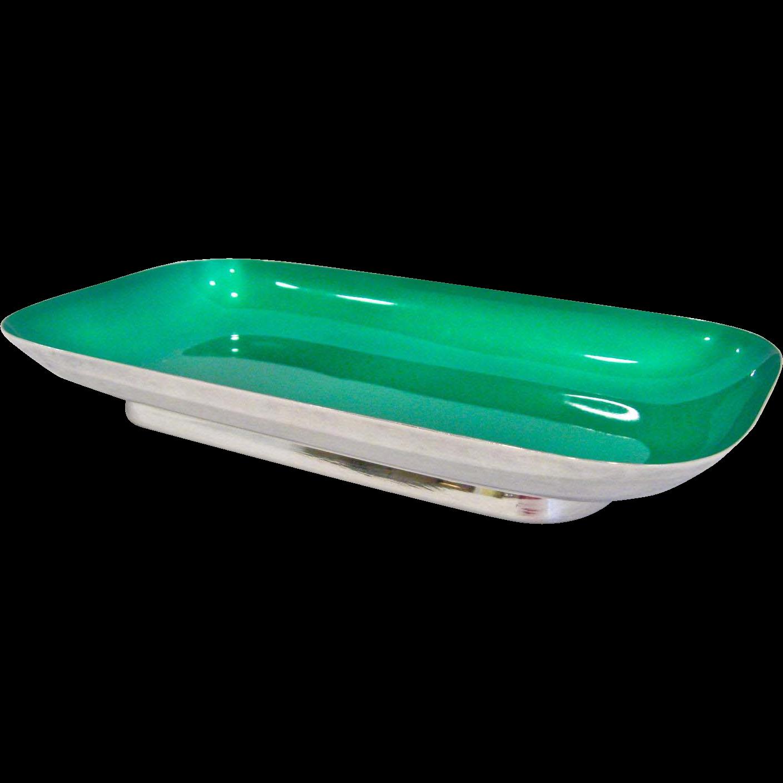 Reed & Barton Silver Plate & Green Enamel Tray