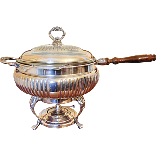 Beautiful Large Silver Chafing Dish with Insert and Warmer