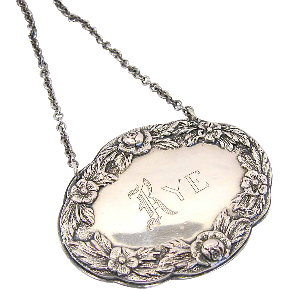 S. Kirk Sterling Silver Oval Liquor Tag Rye