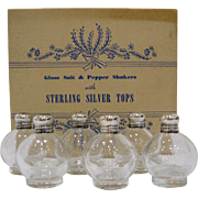 Set of 6 Sterling Top Salt & Pepper Shakers w Original Box