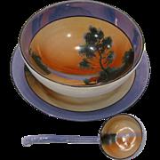 1920s Noritake Blue Luster Scenic 3 Piece Mayonnaise Set