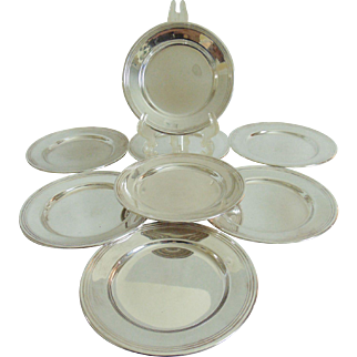 """Set of 8 Sterling Silver 6"""" Bread and Butter Plates"""