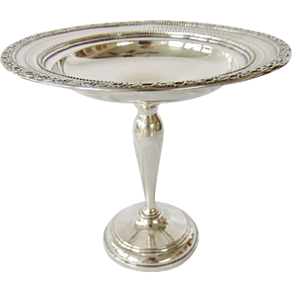 Antique Whiting Sterling Silver Pierced Rim Compote