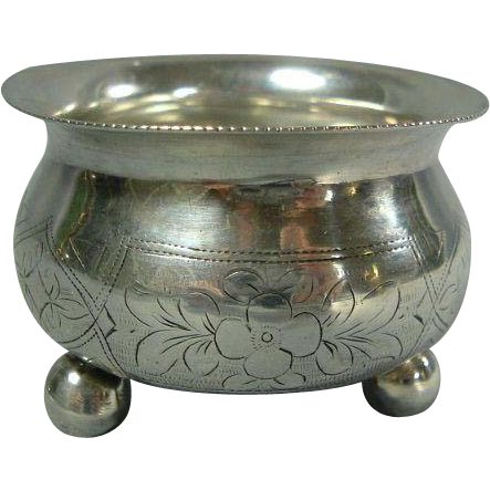 c1889 Antique Russian Footed Silver Salt Cellar Floral Engraving