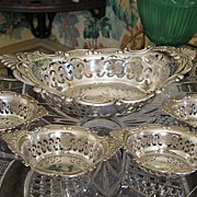 "Gorham Sterling ""Cromwell"" Nut Set, Master Bowl + 4 Individual Nut Bowls"