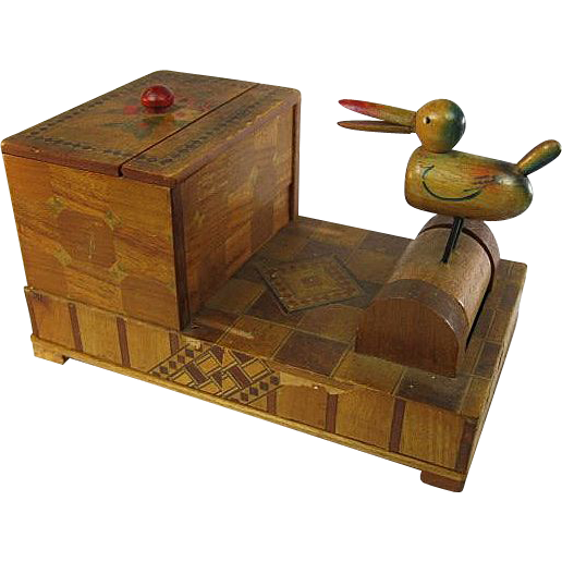 Occupied Japan Marquetry Bird Cigarette Dispenser
