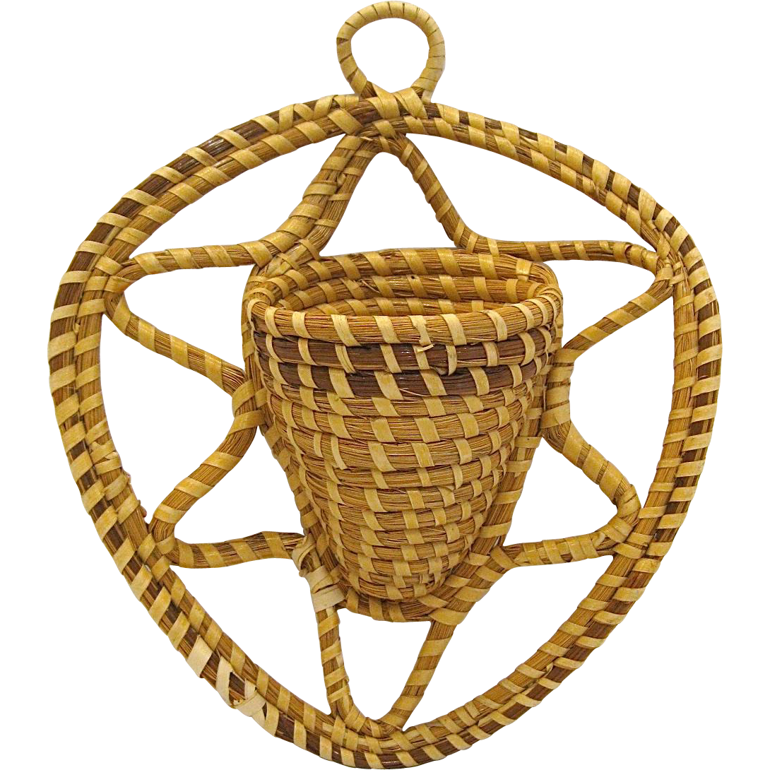 Large Charleston Sweet Grass Basket Wall Pocket, Hand Made American Folk Art