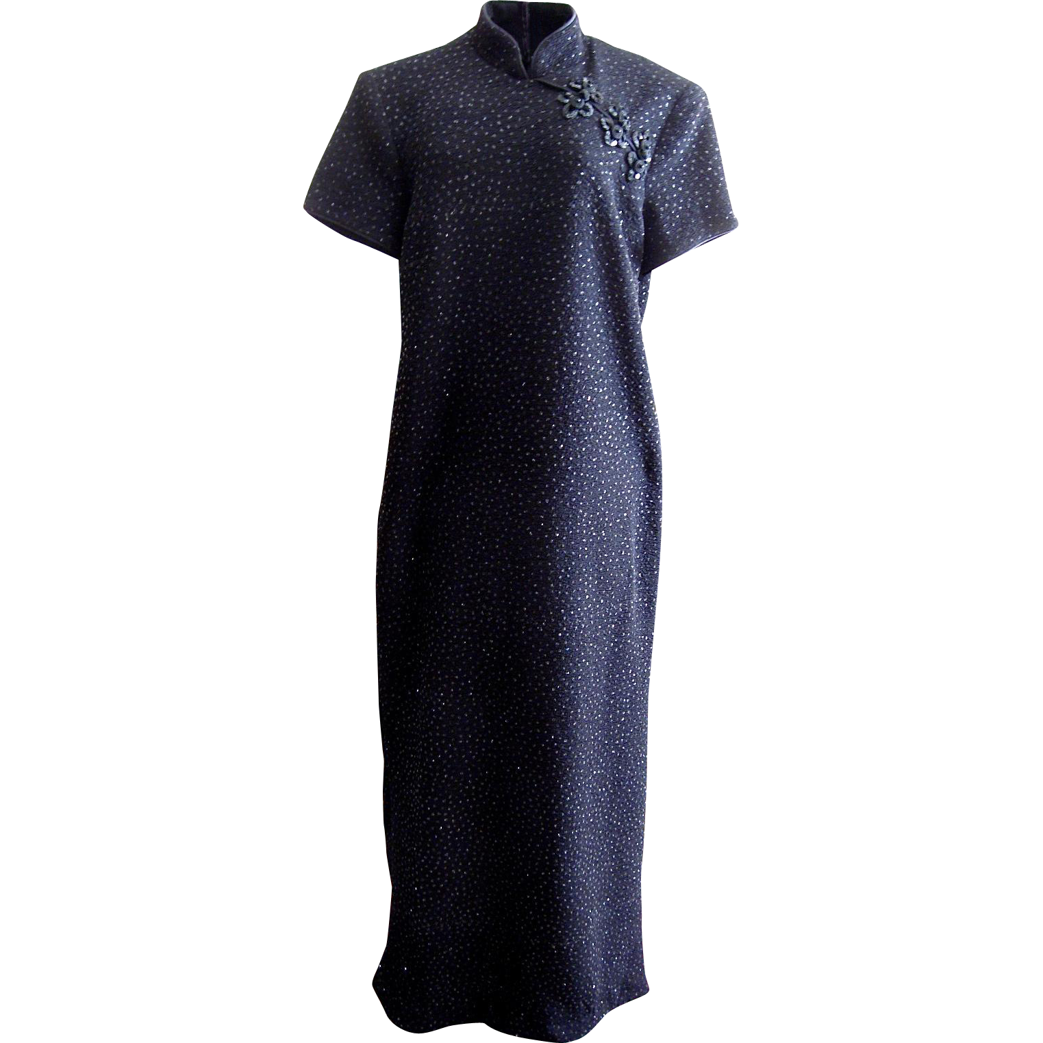 Vintage Black Cheongsam Evening Dress with Black Sequins