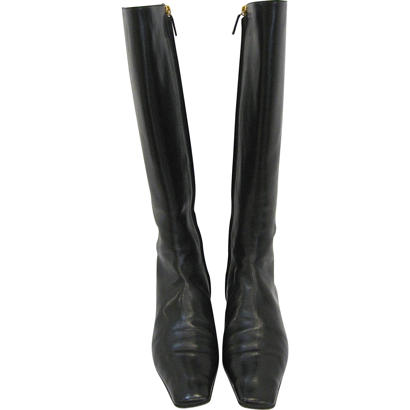 Chanel Black Leather Tall Boots Sz 38