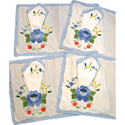 Set of Four Hand Embroidered Flowers Placemats and Napkins