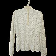 Vintage Lace Blouse, Peplum Waist, Size 6
