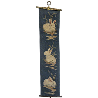 Adorable Vintage Bunnies Needlepoint Bell Pull with Hardware
