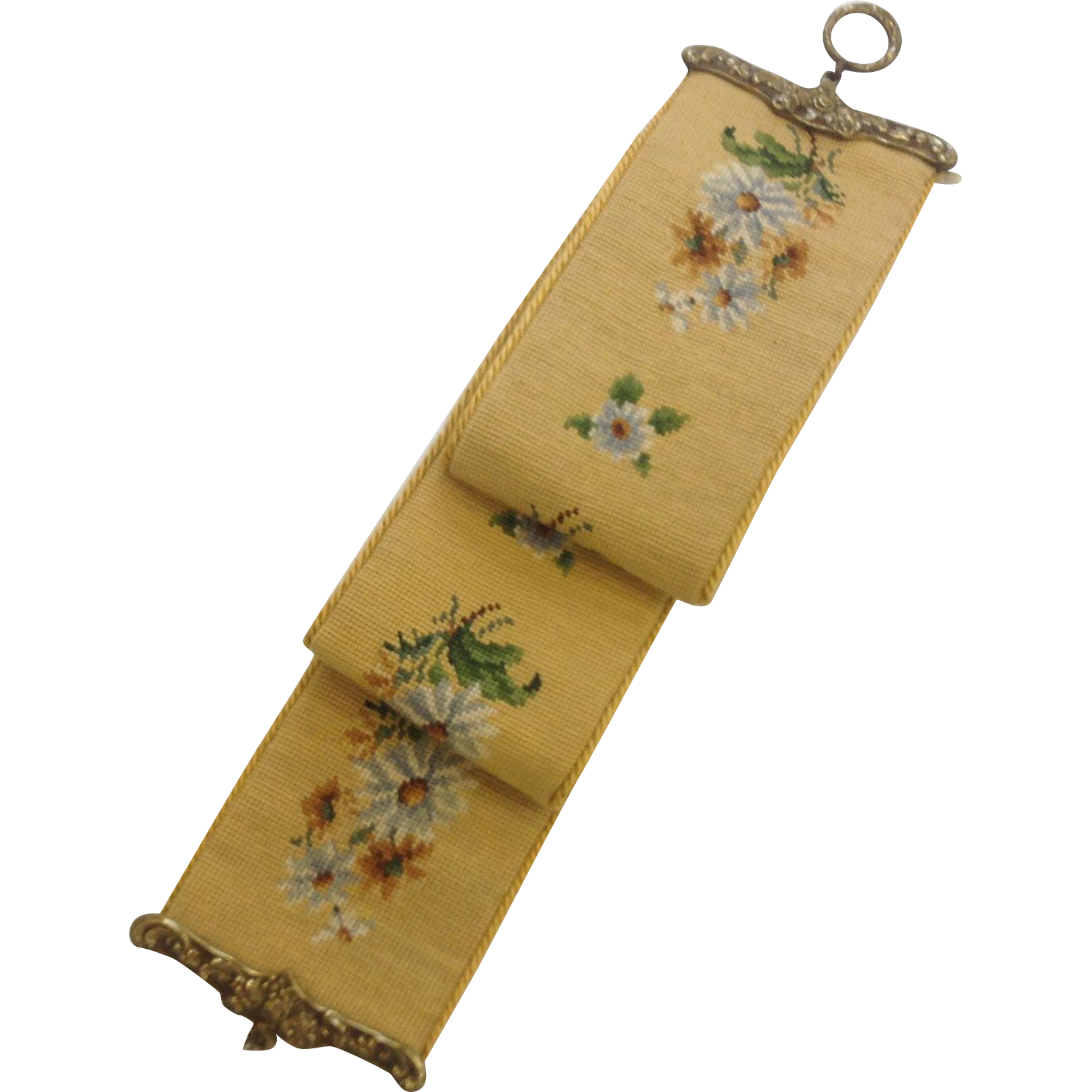 Gorgeous Hand Worked Needlepoint Bell Pull with Daisies
