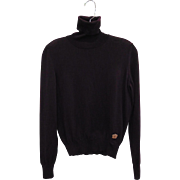 Yves St Laurent Rive Gauche Aubergine Wool Turtleneck