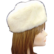 Vintage Winter Fashion White Mink Pillbox Hat with Pompom