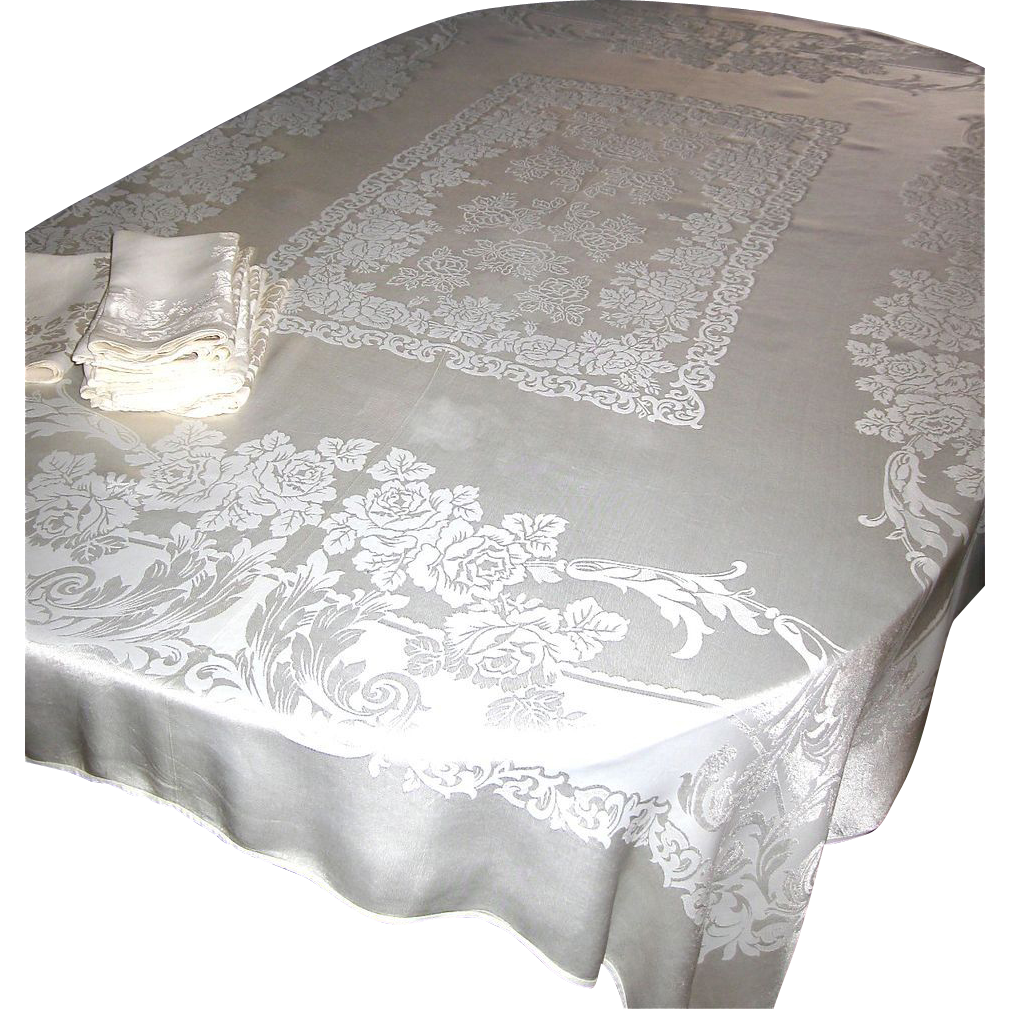 Vintage Ivory Damask Tablecloth + 10 Matching Napkins