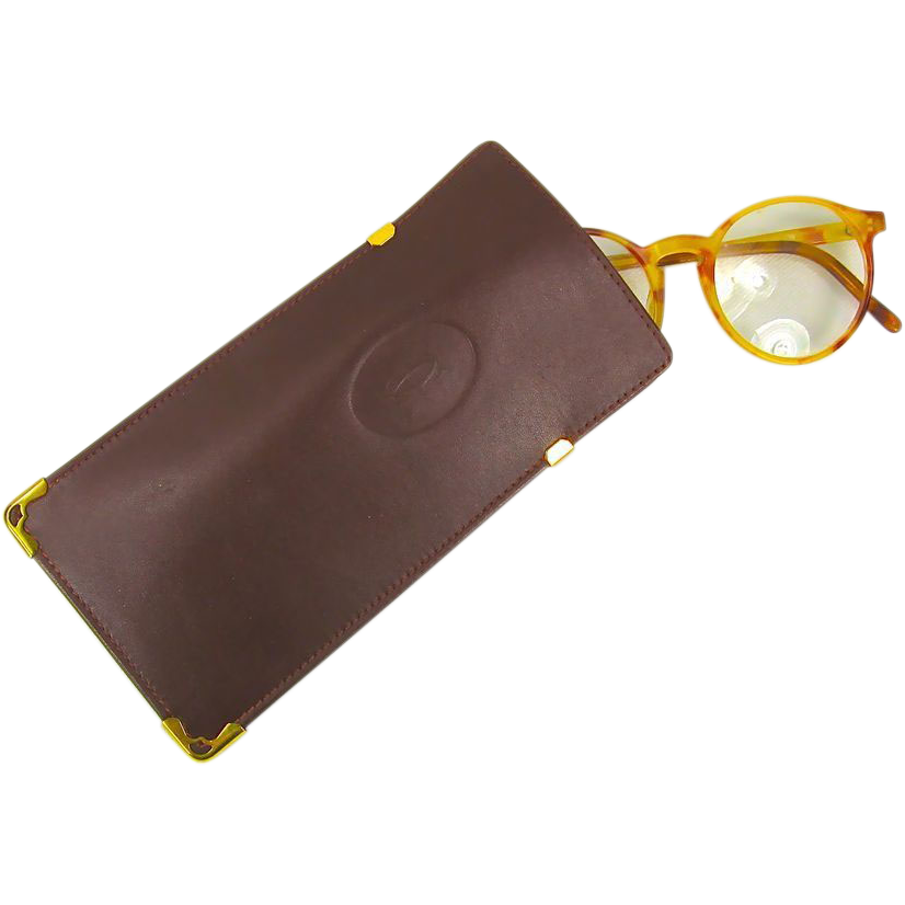 Cartier Bordeaux Leather Eyeglass Case