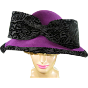 Mr. John Purple Hat with Black Velvet Bow