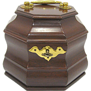 Virginia Metalcrafters Williamsburg Octagonal Mahogany Tea Caddy