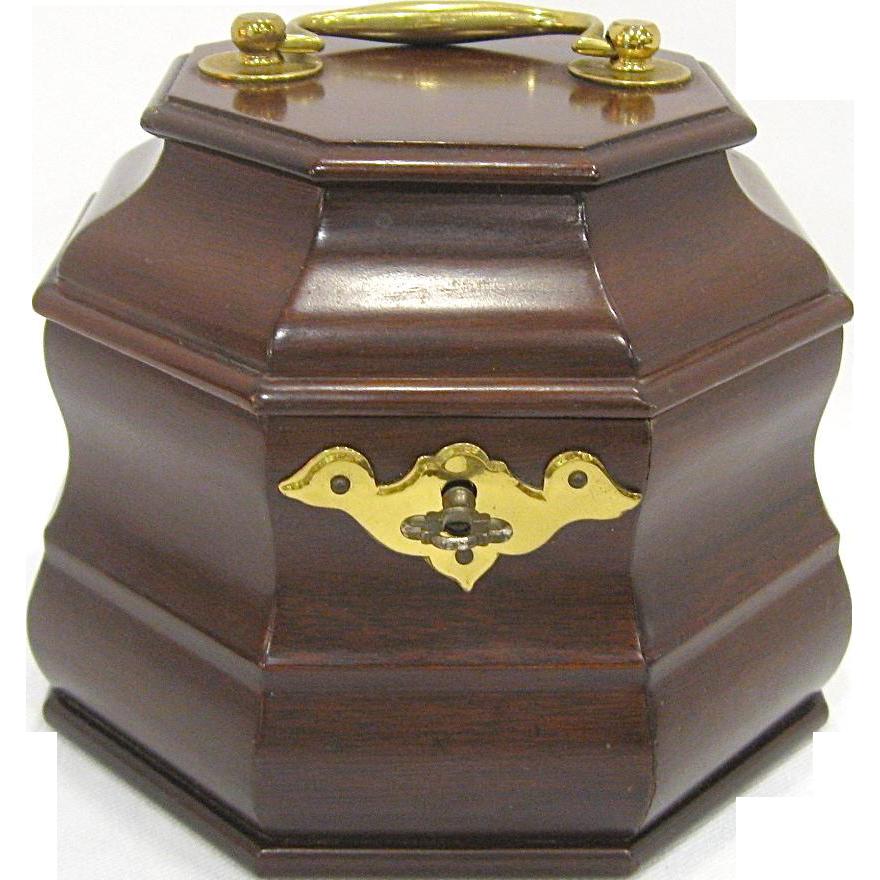 Virginia Metalcrafters Williamsburg Octagonal Mahogany Tea Caddy