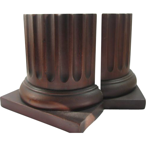 Vintage Mahogany Column Bookends