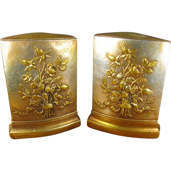Pair Vintage Hollywood Regency Italian Tole Bookends