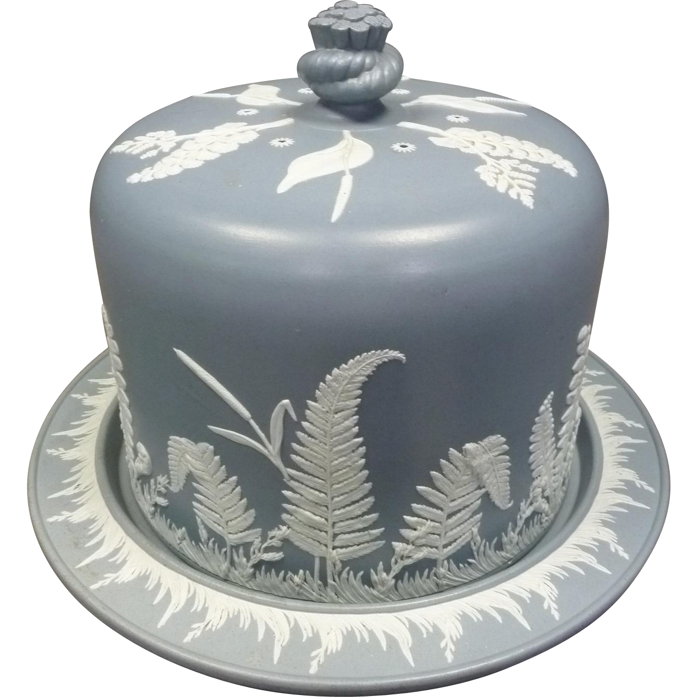 Jasperware Cheese Dome with Ferns and Cattails