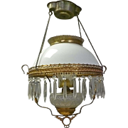 Victorian Hanging Oil Lamp with Prisms
