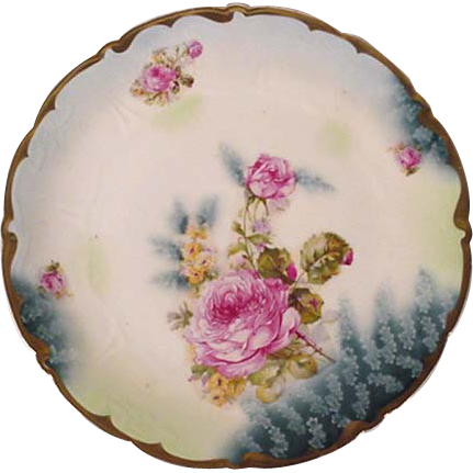 Victorian Rose Plate, Charger, Hand Painted