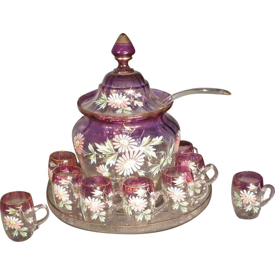 Victorian Hand Painted Amethyst Color Punch Bowl with 9 Cups