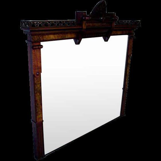 Walnut Victorian Large Mantle Mirror