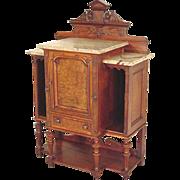 Victorian Marble Top Console, Credenza, Parlor Cabinet